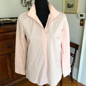 Talbots Pink Top Cotton Relaxed Cropped Shirt P